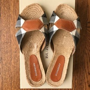 Burberry Espadrille Slide Sandals Nova Check